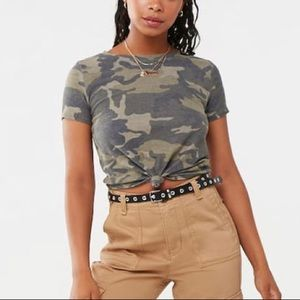 Camo knotted crop top
